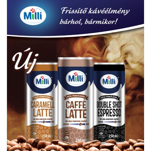 Milli fémdobozos jegeskávé 200 mi (karamell latte,    caffe latte     espresso)